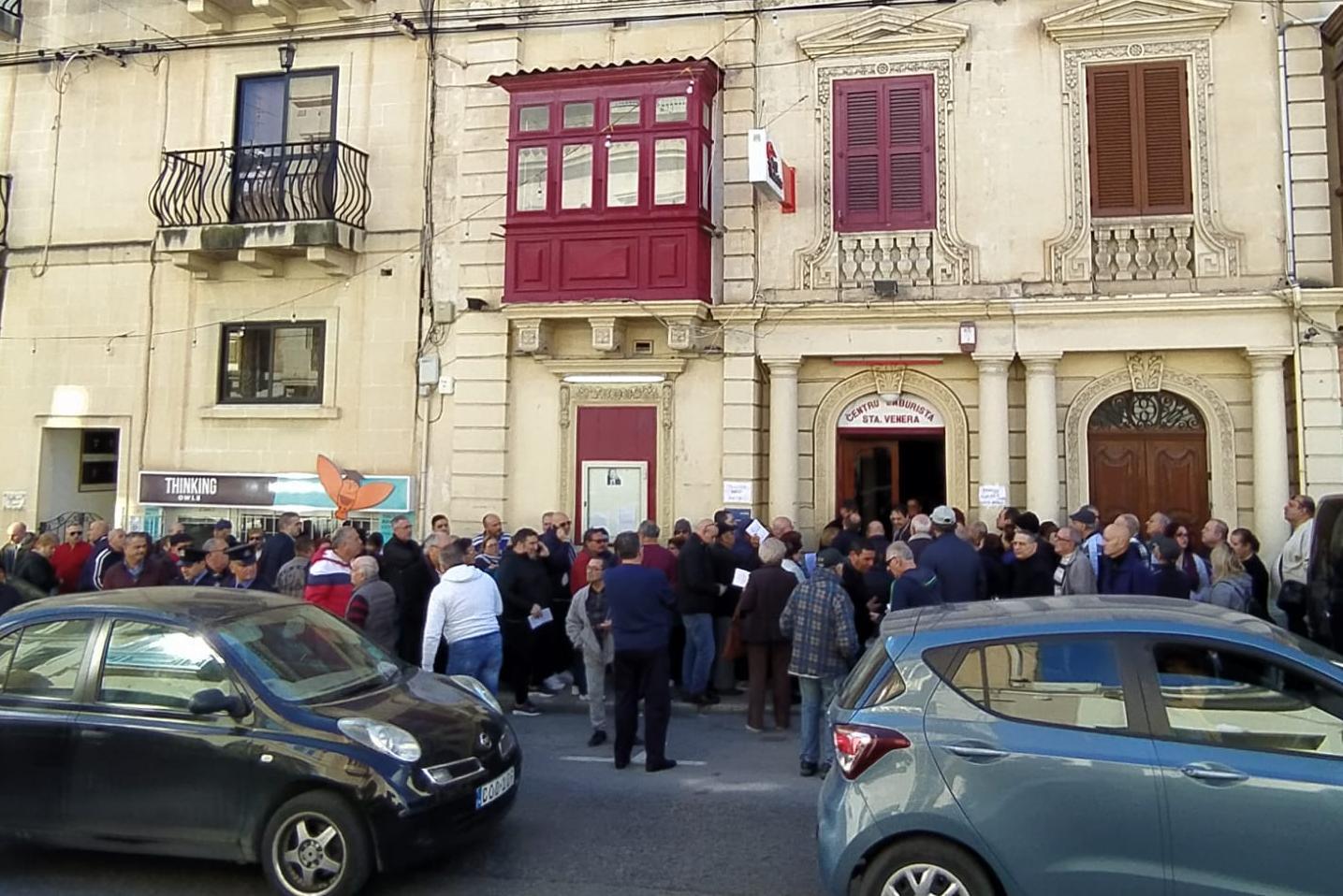 Long queues outside the Labour Party's Santa Venera club. Photo: Jonathan Borg