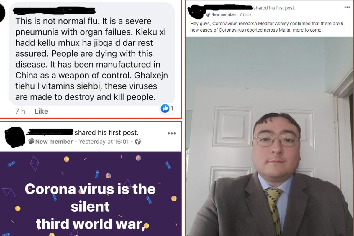 Fake social media posts making alarming claims about the origin and spread of the virus. Photo: Facebook
