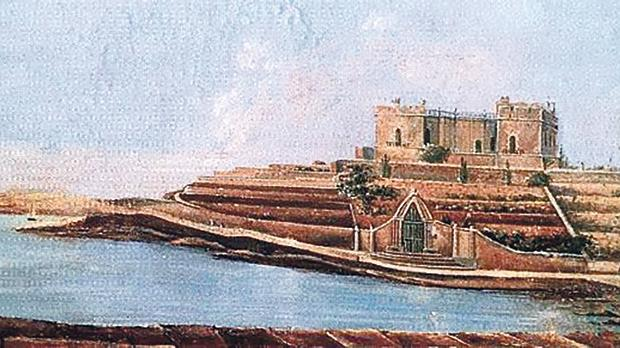 "An early 19th century painting of Balluta Bay, dominated by Villa St Ignatius (or ""Bel-Vedere"")."
