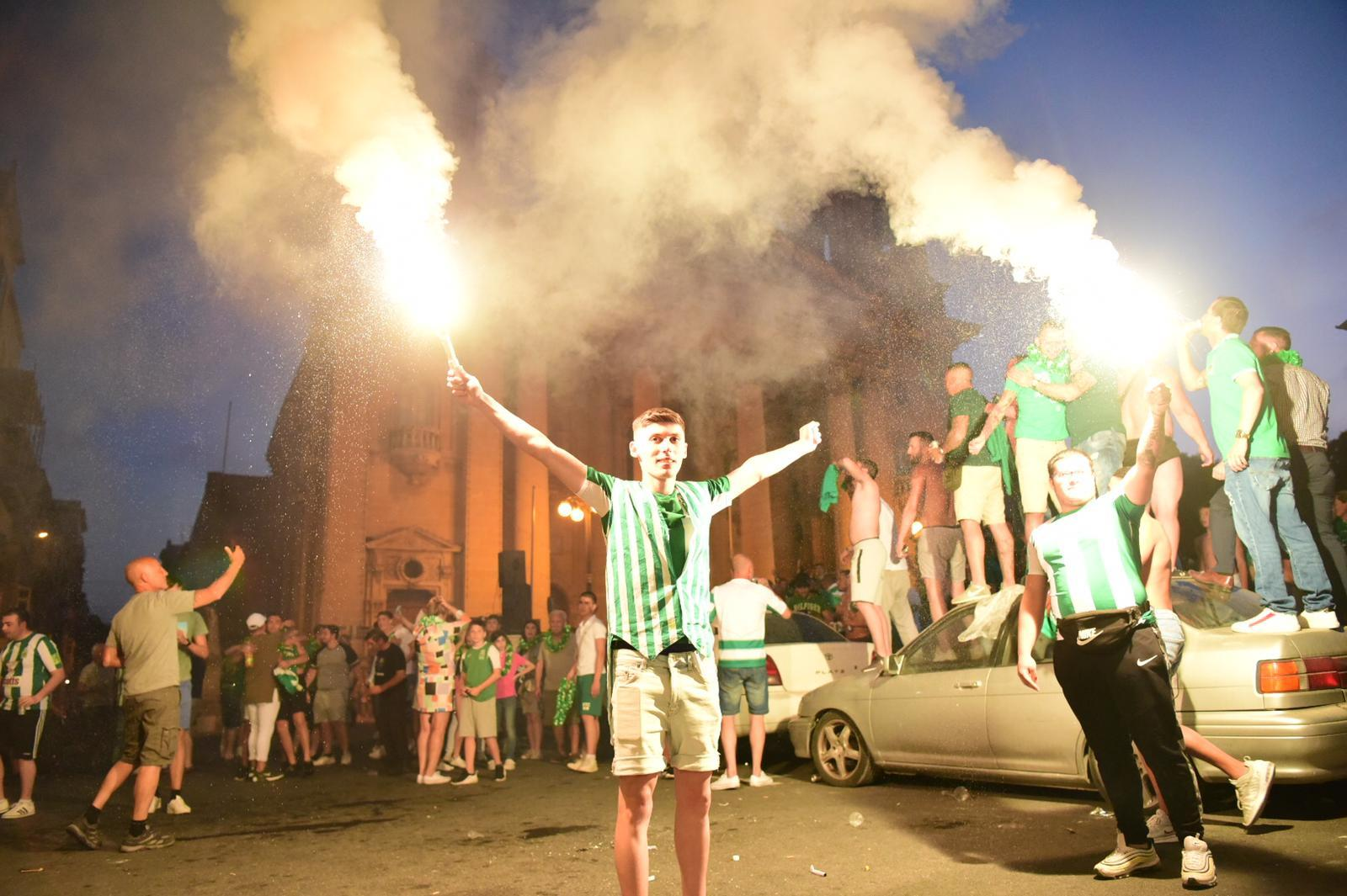 Floriana fans in celebration for the Premier League title success. Photo: Mark Zammit Cordina