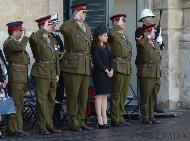 Members of the AFM salute during the Republic Day parade in St George's Square, Valletta on December 13. Photo: Matthew Mirabelli