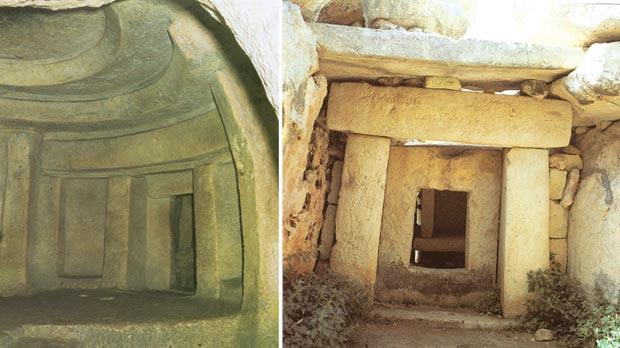 The Hypogeum: view of the Holy of Holies, an imitation of the temples above ground. Right: Mnajdra Temples: view of the middle temple with porthole slab.