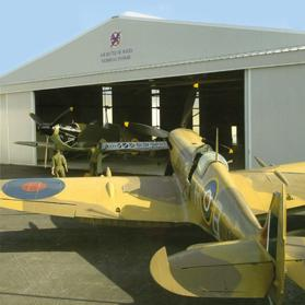 The restored Spitfire and Hurricane fighters at the Ta' Qali Aviation Museum. Photo: Malta Flypast, issue 7, Malta Aviation Museum