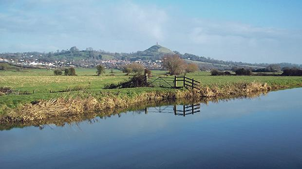Glastonbury Tor from the River Brue in winter.