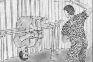 One of the torture methods, known as `torch`, allegedly used on illegal immigrants on their return to Eritrea. From the report, Eritrea: You Have No Right to Ask by Amnesty International.