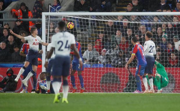 Tottenham's Juan Foyth scores their first goal.