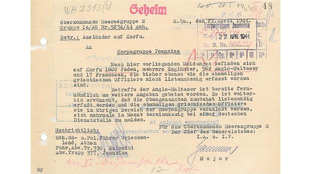 A memo dated April 21, 1944, from the German High Command requesting the capture of foreigners in Corfu (See translated text on left). Source: Bundesarchiv Freiburg