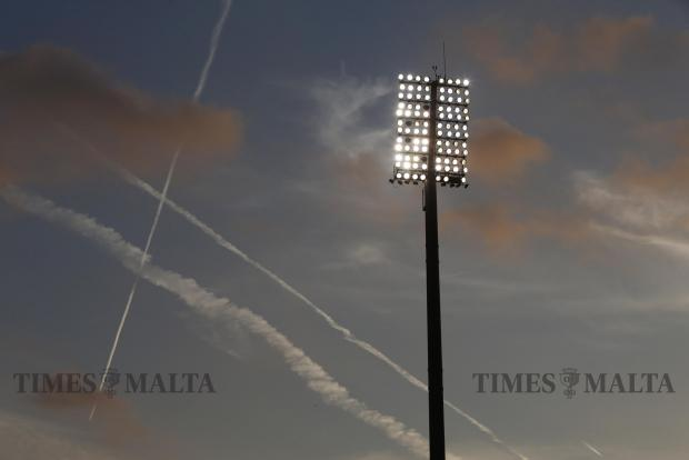 Aircraft contrails are seen from the National Stadium in Ta' Qali before the 2018 World Cup qualifier between Malta and Scotland at the National Stadium in Ta' Qali on September 4. Photo: Darrin Zammit Lupi