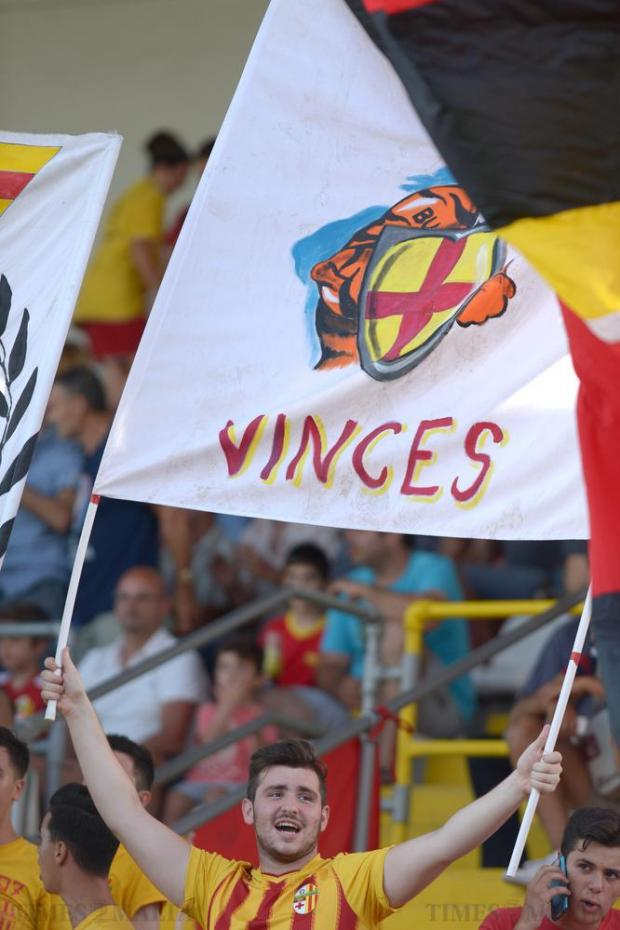 A Birkirkara fan celebrates after his teams Europa League win against Bosnia's NK Siroki Brijeg at the Hibernians Stadium in Corradino on July 5. Photo: Matthew Mirabelli