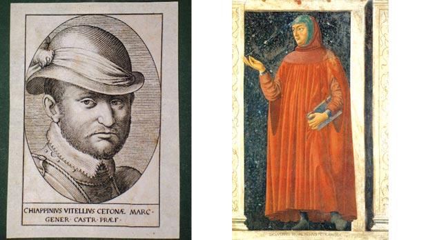 The condottiero Chiappino Vitelli, leader of the Tuscan relief forces in the Great Siege, to whom Battiferra dedicated one of her 'Maltese' sonnets. Right: The poet Francesco Petrarca, Battiferra's inspiration.