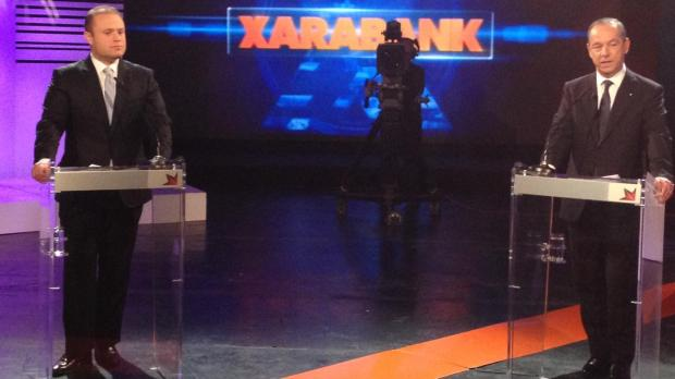 Dr Gonzi (right) and Dr Muscat at the Xarabank studios in Qormi this evening. Photo: Jason Borg