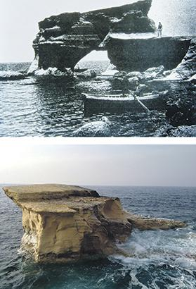 Għar Qawqla before and after. Upper photo: Courtesy National Archives, Gozo