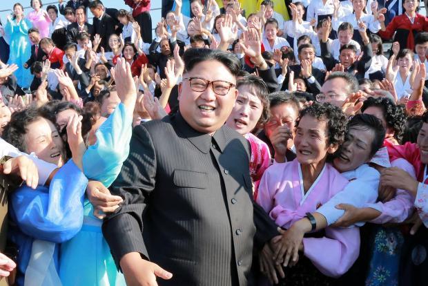 Kim Jong Un meets supporters. Photo: North Korean central news agency
