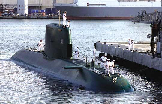 An Israeli naval submarine docks at Haifa port.