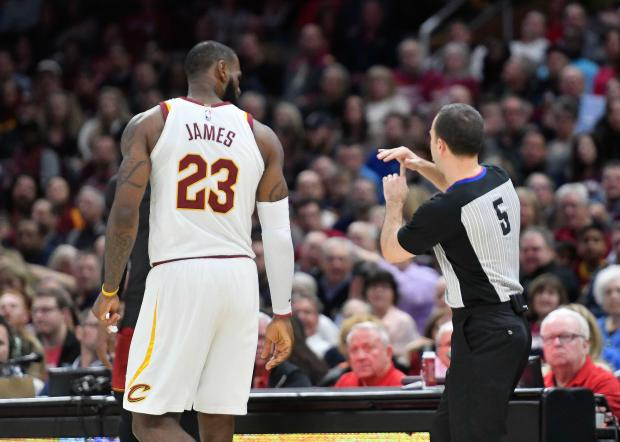 NBA referee Kane Fitzgerald (5) calls two technical fouls on Cleveland Cavaliers forward LeBron James (23) in the third quarter against the Miami Heat at Quicken Loans Arena. Photo: David Richard-USA TODAY Sports