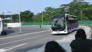 Driverless bus being tested in Singapore