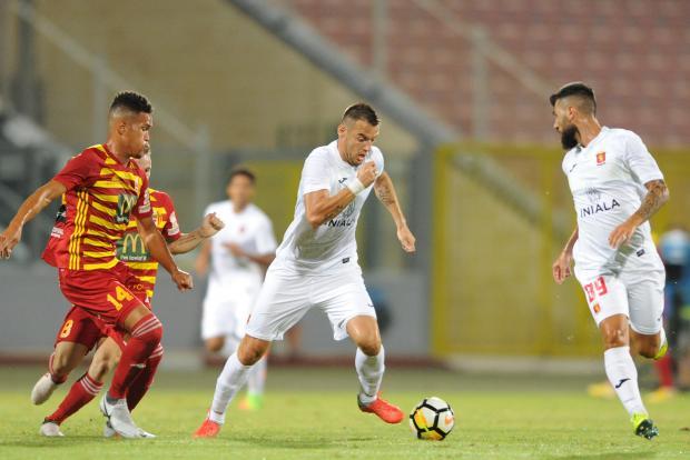 Bojan Kaljevic (centre) scored for Valletta on his debut. Photo: Stephen Gatt