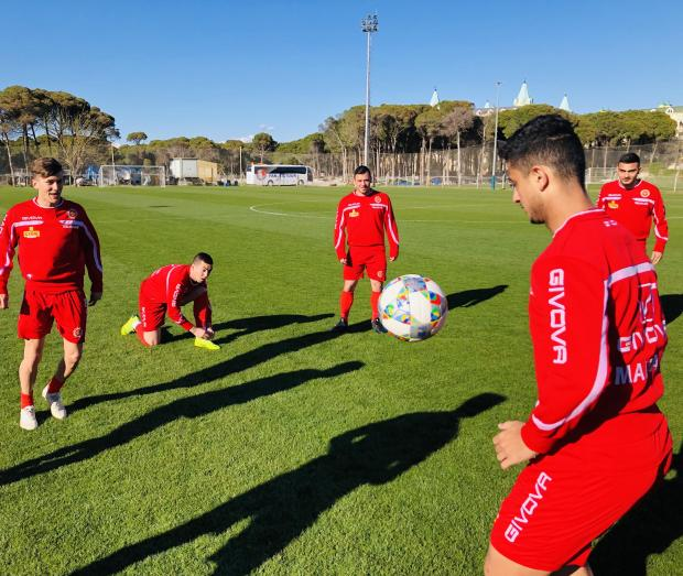 The Malta U-21 during a training session in Turkey.