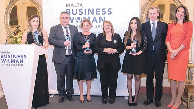 From left: Amanda Xuereb – winner of the Young Businesswoman Award; Edwin Borg, CEO Tigné Mall plc – Company Award for Excellence in the Promotion of Women; Natalie Briffa Farrugia – winner of the Malta Businesswoman of the Year 2018; President Marie-Louise Coleiro Preca; Ylenia Mifsud (on behalf of Isabella Mifsud) – Inspiring Role Model Award; Andrew Beane – CEO, HSBC Bank Malta plc; and Sonia Hernandez – chair of the judging panel.