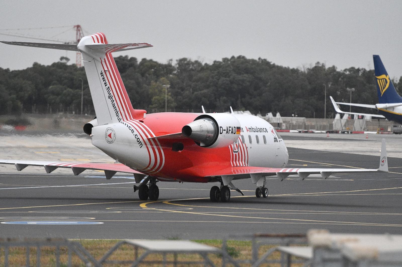 The air ambulance just as it landed at Malta International Airport. Photo: Jonathan Borg
