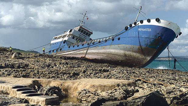 TheHephaestusran aground not far from where St Paul is believed to have been shipwrecked. Photos: MatthewMirabelli