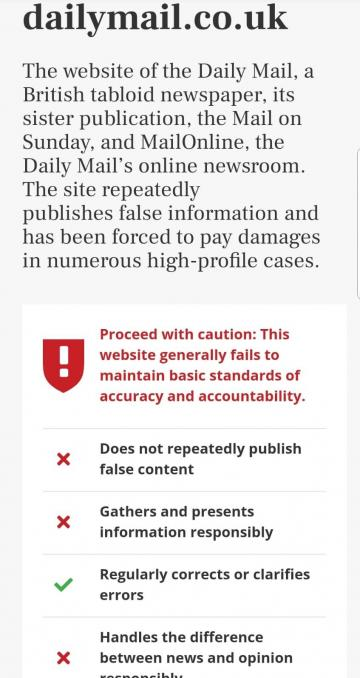 A warning pops up when visiting the Daily Mail website.