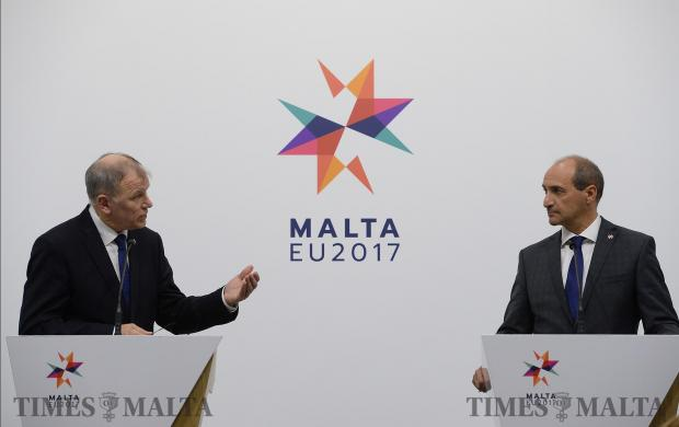 Vytenis Andriukaitis, Member of the EC in charge of Health and Food Safety (left), together with Chris Fearne, Minister for Health address members of the press in Valletta on March 20. Photo: Matthew Mirabelli