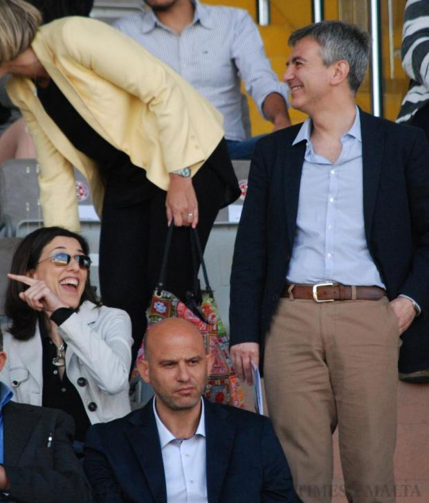 Opposition leader Simon Busuttil (right) and his girlfriend Kristina Chetcuti attend the FA Trophy final between Birkirkara and league champions Hiberians at the National Stadium in Ta Qali on May 23. Ms Chetcuti is a keen supporter of Hibs, whereas Dr Busuttil supports his hometown Birkirkara. Photo: Mark Zammit Cordina