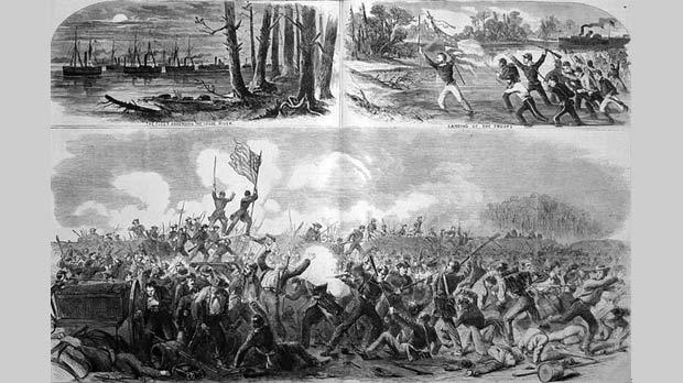 The Battle of New Bern North Carolina, 1862. Photo: Harper's Weekly, April 5, 1862. Library of Congress, the US