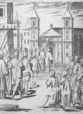This religious procession, led by the prior of St John's, shows the earliest-known depiction of the church of St John. It is a frontispiece to Grand Master Hugues Loubenx de Verdalle's statutes published in 1584 from an engraving by Philippus Thommasinus.
