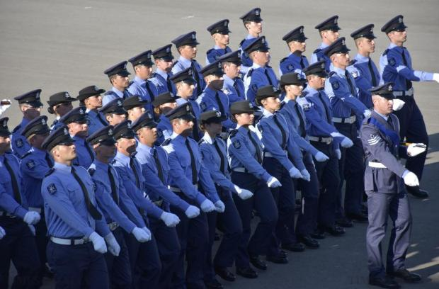 Newly graduated police officers march during their graduation ceremony at the police academy in Mqabba on September 29. Photo: Mark Zammit Cordina