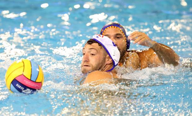 Matthew Zammit tries to make some inroads in the Spanish defence. Photo: Christine Borg