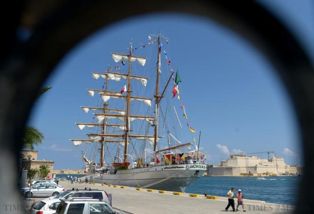 The Mexican Navy training ship Cuauhtémoc is seen berthed at Grand Harbour on August 21. Photo: Matthew Mirabelli