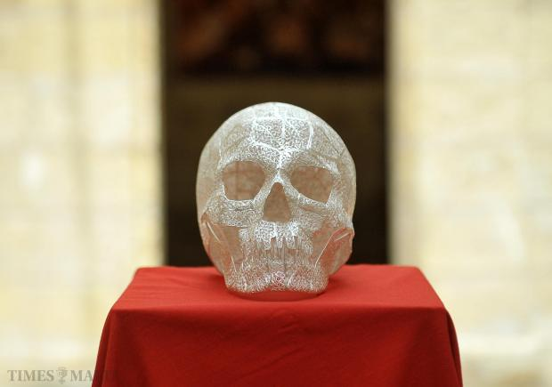 Inspired by Damien Hirst's diamond-encrusted skull, a silver filigree skull by craftsman Kevin Attard, who spent four months researching and constructing it, is exhibited at the Malta Society of Arts, Manufactures and Commerce in Valletta on September 2. Photo: Chris Sant Fournier
