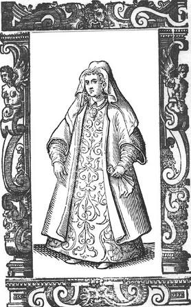 A woman from the Greek islands. From Cesare Vecellio's Book of Costumes, 1590.