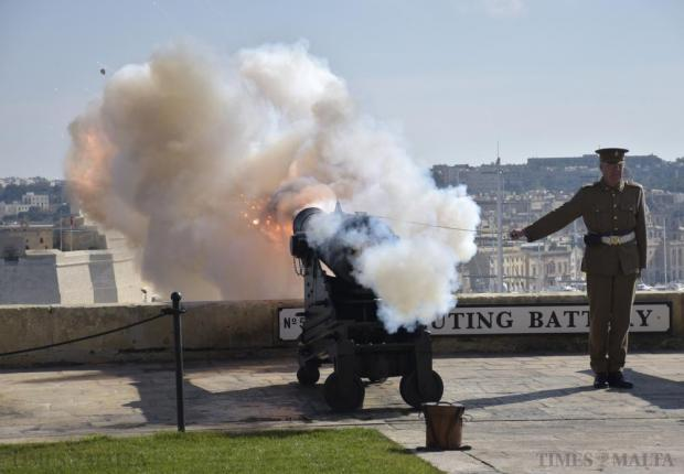 A British Army re-enactor fires a cannon at the Upper Barrakka Gardens in Valletta on January 29. Photo Mark Zammit Cordina