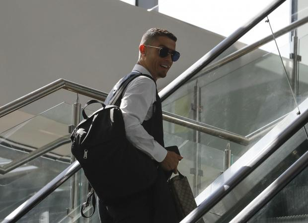 Ronaldo leaving Russia after Portugal were eliminated from the World Cup.