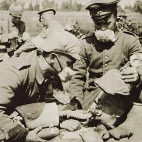 A German soldier being treated for the effects of inhaling poison gas during the Battle of Loos. Photo: Purnell's History of the First World War