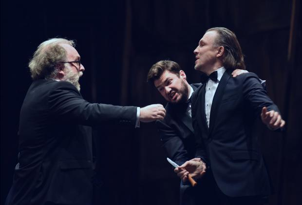 A fight scene between three men occurs during the performance of Don Giovanni held at the Manoel Theatre on February 26 PHOTO: MARK ZAMMIT CORDINA