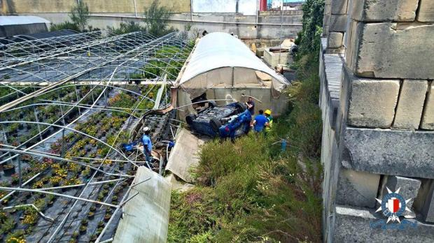 Man Falls Into Garden Centre After Losing Control Of Car