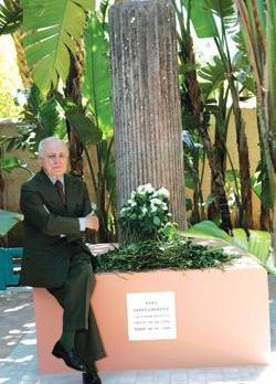Pierre Berge, long-time companion of Yves Saint Laurent, sits by the memorial dedicated to the late French fashion designer in the Majorelle garden in Marrakesh, yesterday. Saint Laurent died in Paris on June 1, aged 71.