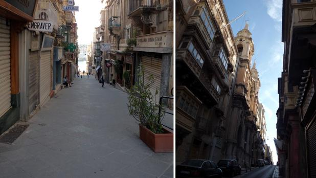 St. John Street, Valletta. Right: St Paul's Church, Valletta. Photos: Noel Caruana Scicluna