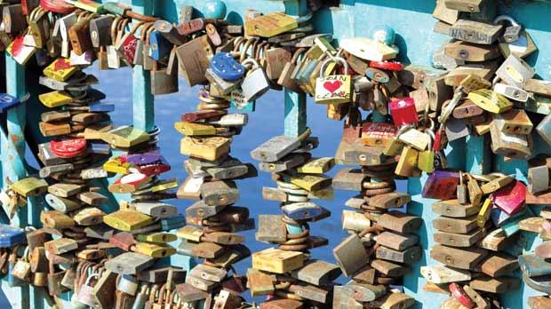 Lovers' padlocks on the bridge of hope and dreams.