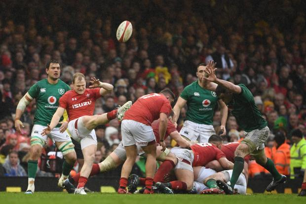 Wales' Aled Davies clears the ball up-field during the Six Nations international rugby union match between Wales and Ireland.