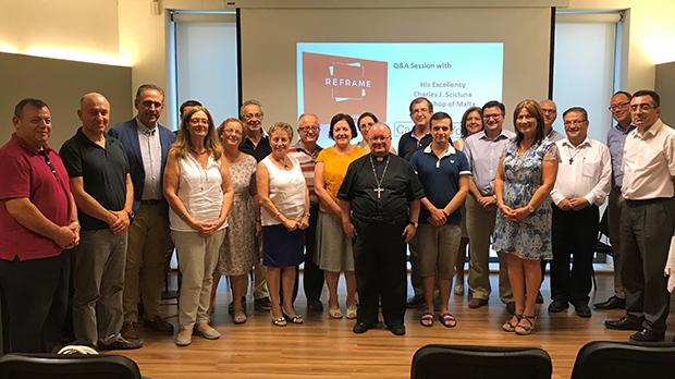 Members of Catholic Voices, together with Archbishop Charles Scicluna. Manfred Galdes is second from right, Arthur Galea Salamone is fourth from right, and Tonio Fenech is sixth from right.
