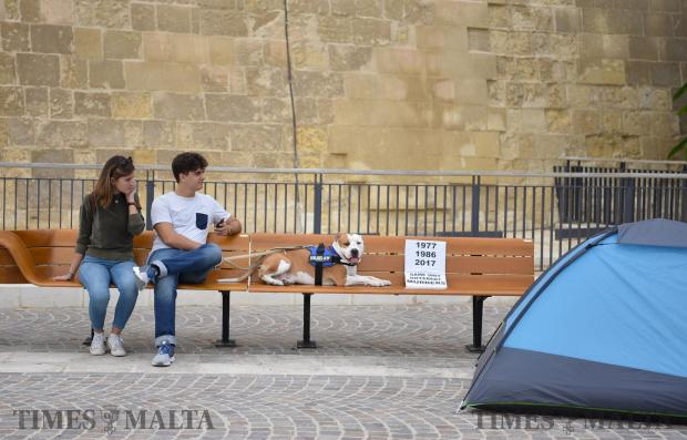 A couple and their dog sit on a bench in Castile Square in Valletta near tents set up during a protest called Occupy Castile on October 28. Photo: Mark Zammit Cordina