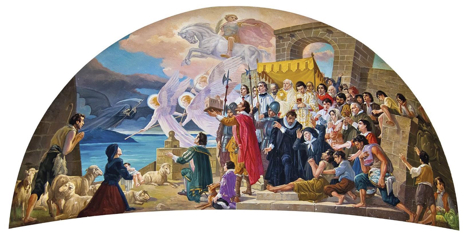 A lunette at St George&rsquo;s Basilica in Victoria depicting Ċensa in her <em>għonnella</em>. See detail above.