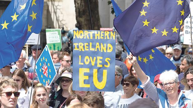 An anti-Brexit protest along Whitehall with sign saying 'Northern Ireland loves EU'. Photo:Gina Power/Shutterstock.Com