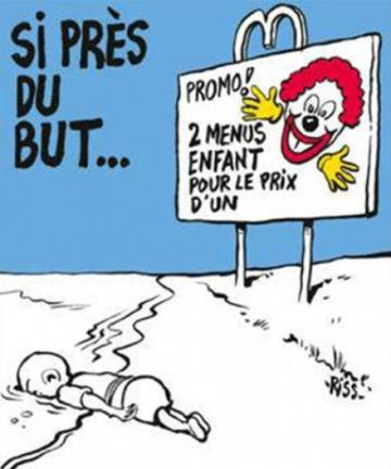 The Burlo cartoon brings to mind the Charlie Hebdo cover.