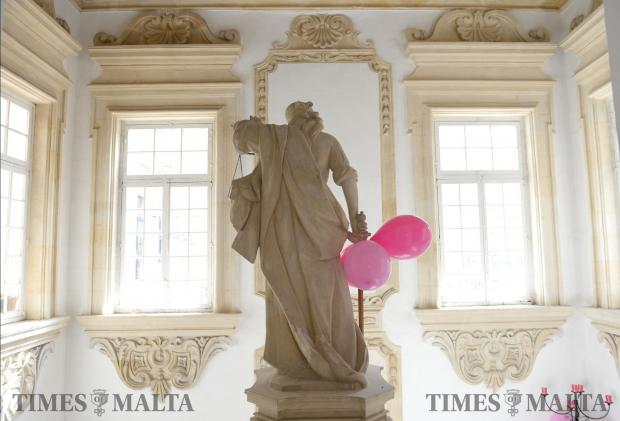 Pink balloons are hung inside the Health Ministry as awareness for Pink October on October 30. Photo: Matthew Mirabelli